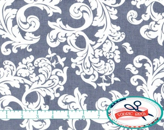 GRAY Fabric by the Yard Fat Quarter Elegance SCROLL fabric Gray & White Fabric Damask Quilting Fabric Apparel Fabric 100% Cotton Fabric a4-3