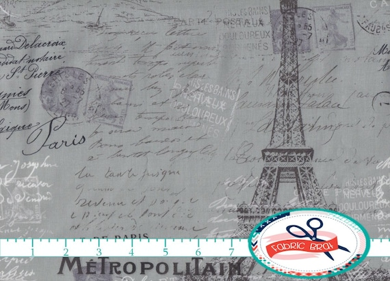 excellent french script fabric by the yard. GRAY PARIS Fabric by the Yard Fat Quarter Script POSTCARD Eiffel  Tower Quilting Apparel 100 Cotton a1 11