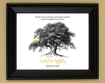 50th Anniversary Gift - 10th 20th 30th 40th Year Wedding Anniversary - Personalized Names & Wedding Date - Birds in Tree - 8x10 or 11x14