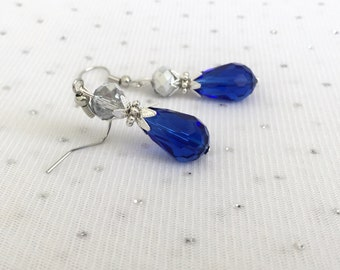 Cobalt Blue Bridesmaid Teardrop Earrings, Rhinestone Dangle Earrings, Bridesmaid Wedding Jewelry Gift, Blue and Silver Beaded Earrings
