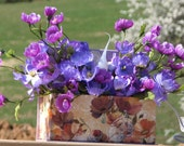 Lighted Silk Floral Arrangement Rustic Spring Centerpiece Flower Printed Box Purple Silk Flowers Electric Candle Shabby Chic Centerpiece