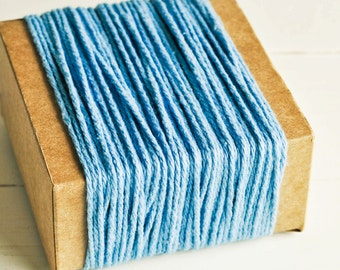 Thick Cotton Twine in Pale Blue - 10 Yards - Packaging Gift Wrapping String Cord Trim Ribbon Pretty Vintage Party Crafting Supply Decor