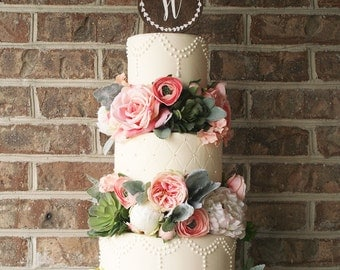 Wood Wedding Cake Topper - Wreath with Monogram