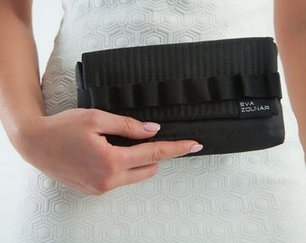 Black edgy clutch bag futuristic purse Avant Garde