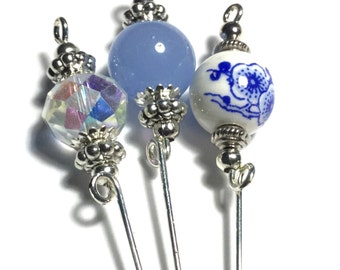 "3 x 4"" Silver Hat Pins, Vintage Style, Blue & Clear Glass Beads, (HPSet 1-8)"