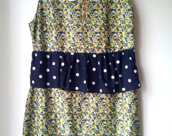 Geometric Peter Pan Collar mixed Print Dress Handmade