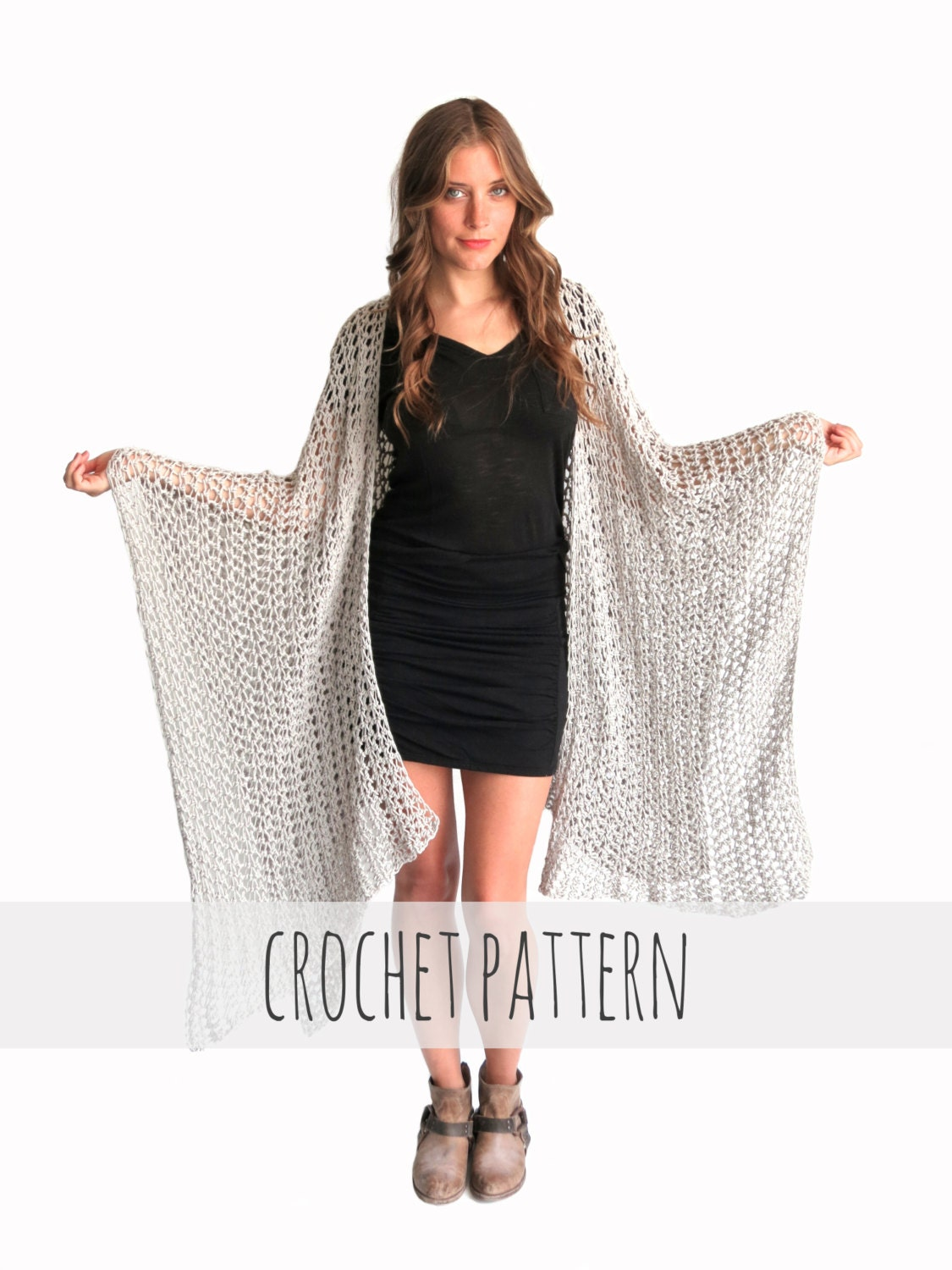 Knitting Pattern Poncho Wrap : PATTERN for Loose Knit Crochet Poncho Beach Cover Up Wrap Cape