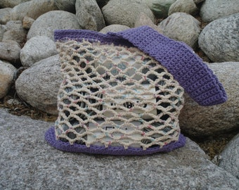 The Haley Crochet Market Bag, Tote in Deep Purple- Made to Order