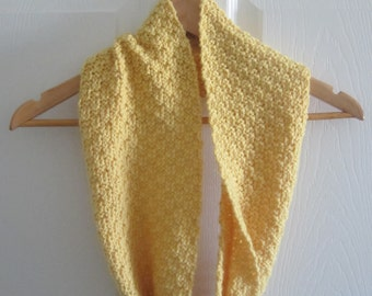 Reversible Knit Cowl - Golden Yellow Wool Blend Cowl Scarf - Hand Knitting