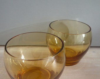 Kitsch Amber Rounded Bubble Glass Tumblers 1960's 1970's Retro Vintage Mid Century