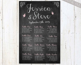 PRINTABLE Chalkboard Wedding Seating Chart - Custom wedding seating board plan - DIGITAL file!