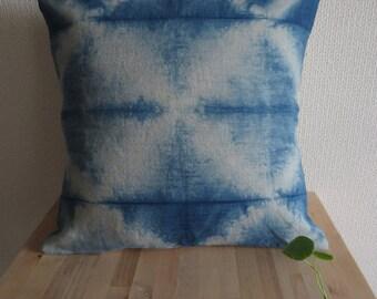 Natural Indigo Linen Shibori Cushion / pillow cover