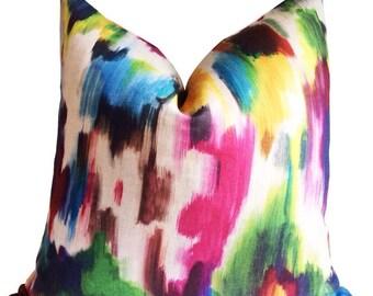 Kravet Designer Pillow Cover, Multi Ikat Accent Pillow, Throw Pillow, Cushion