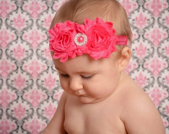 Hot Pink Baby Headband, Baby Head Band, Hot Pink Flower Headband,Baby Hair Bow,Hot Pink Toddler Headband,Hot Pink Girl Headband