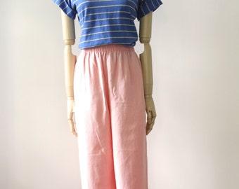 Peach linen pants. Pastel high waist pants. Wide leg pastel pants. 90s coral trousers