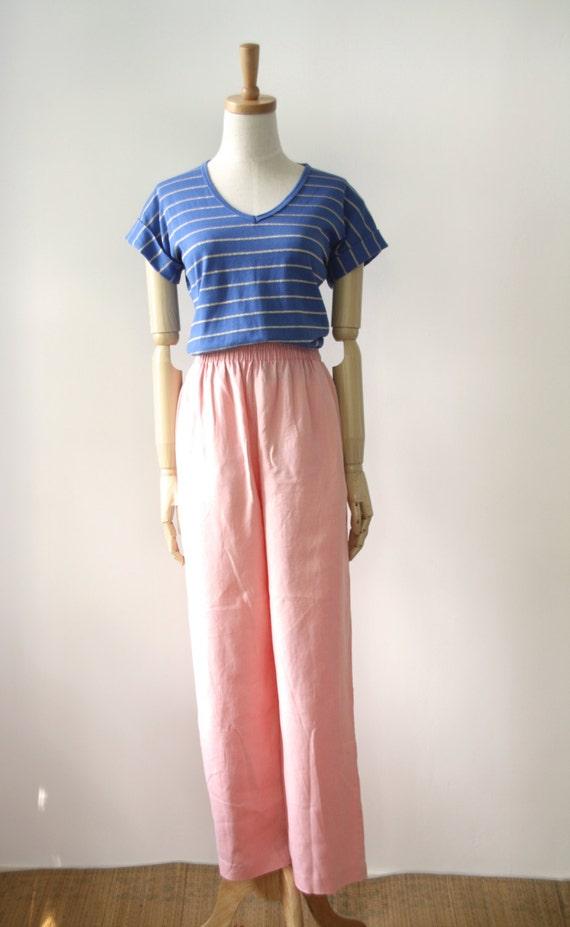 Peach linen pants. Pastel high waist pants. Wide leg pastel