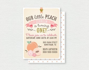 Our Little Peach Birthday Invitation - First Birthday Invitation, Peach, Girl Birthday Invitation