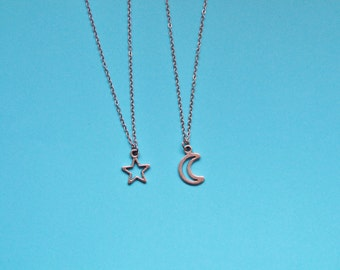Moon and star friendship necklaces ALSO SOLD SEPERATELY Crescent moon half moon phrase star stars necklace