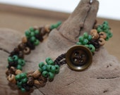 Kids' Bracelet: Crocheted S-Lon Cord with Small Brown & Blue Seed Beads and Round Wooden Beads