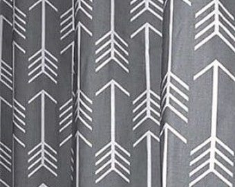 "1 Pair of Designer Cotton Arrows Print Custom Drapes either Flat Rod Pocket Panels or Grommets 50""W x Selected Length"
