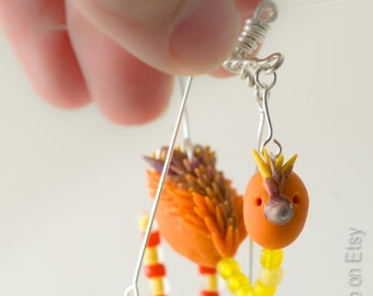 Mini Birdie Puppet Marionette Pendant Necklace - Works like a real marionette! So very cute! Yellow, Orange, brown, silver, beaded, polymer