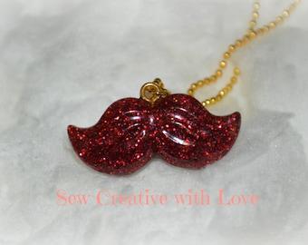 Red Mustache Necklace, Glitter Mustache, Mustache Necklace, Resin Necklace, Resin Jewelry, Mustache Jewelry, Glitter Jewelry, Red Jewelry