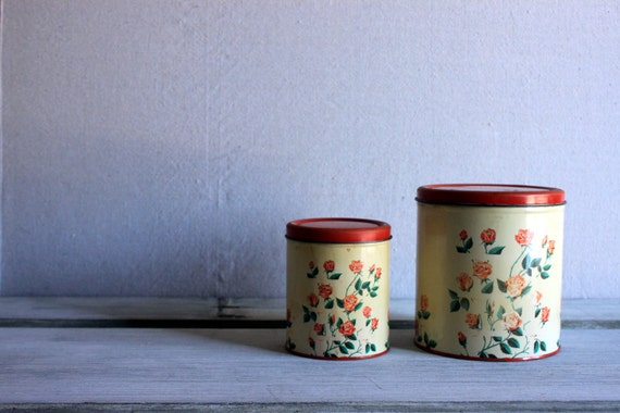 vintage metal canisters shabby kitchen roses by