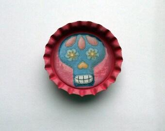 Cute Pink Bottlecap Magnet with Sugar Skull Design
