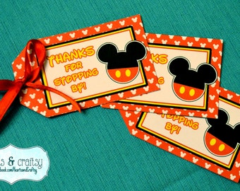 Mickey Mouse Party Favor Tags / Gift Tags  / Mickey Mouse Birthday Party - FILE to PRINT DIY