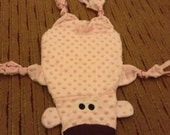 CLEARANCE Baby Pink Brown Dot Bear Blanket, Security Blanket, Cuddle Blanket, Pink Lovey, Bear Baby Gift, Baby Shower Gift, Baby Girl