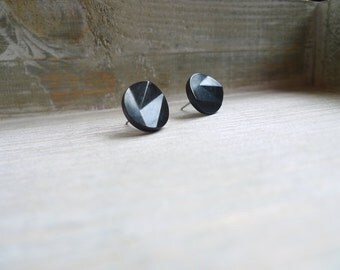 Circle stud earrings Stainless steel posts, Geometric studs, Black studs