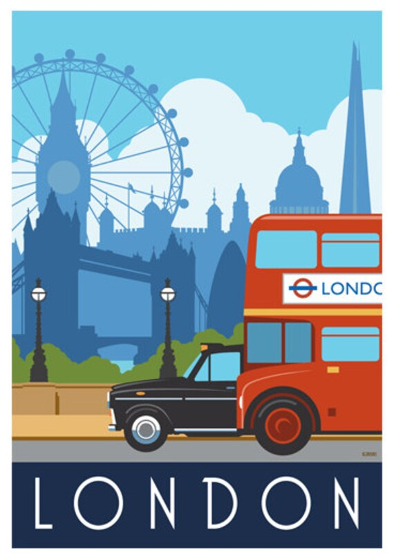 LONDON. Art print Railway Poster of London Bus u0026 Taxi. A4 A3