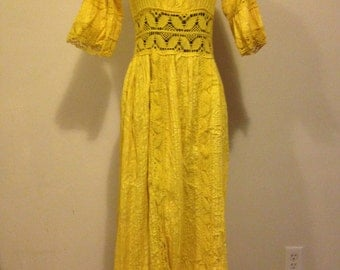Sunshine Yellow Flower-Child 1960s Maxi Dress