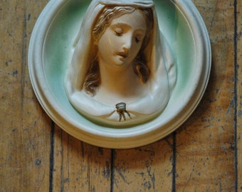 Vintage 3D Virgin Mary Plaster Plaque - Circular Religious Art Antique Madonna