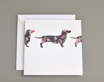Sausage Dog Card  - Sausage Dog  Birthday Card - Dachshund Blank Card - card for dog lovers - sausage dog notecard -dog greetings card