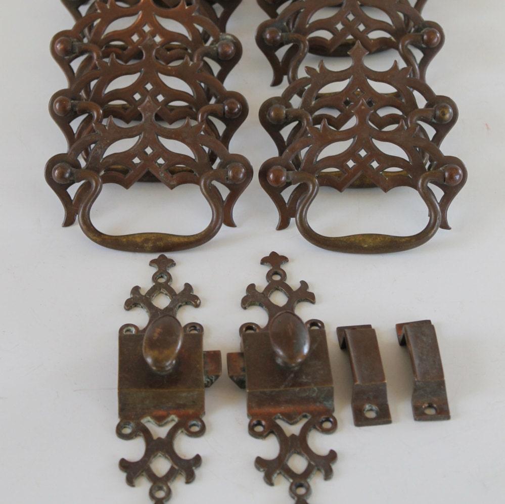 1950s set of 10 drawer pulls 2 armoire door latches for 1950 door knobs