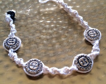 White and silver hemp reversible bracelet