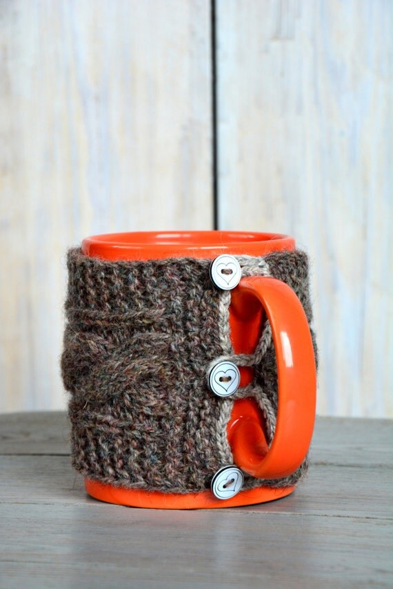 Knitted Mug sweater. Natural Wool Mug Warmer with cable