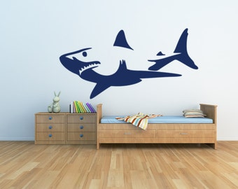 Shark Wall Art shark wall decals | etsy