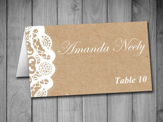 fold over wedding place card template kraft escort card vintage lace place cards kraft. Black Bedroom Furniture Sets. Home Design Ideas