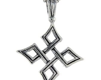 Sterling Silver Quaternary Celtic Knot Cross Pendant, 1 1/2 inch tall