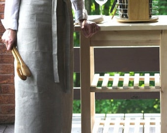 Linen Half Apron with long ties and handy pocket.