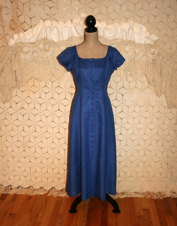 vintage 80s clothing royal blue dress button up dress