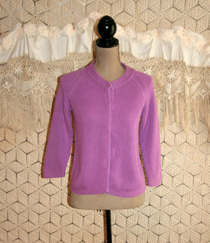 Purple Cardigan Purple Sweater 3/4 Sleeve Cotton Sweater Lilac
