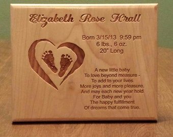 Engraved Wall Hanging For New Baby -- Personalized Custom Customized Plaque