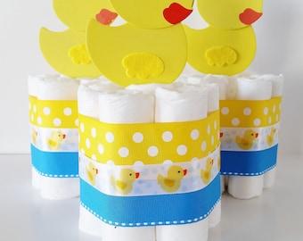 Rubber Ducky Baby Shower Centerpieces, Rubber Ducky Diaper Cake, Mini Diaper Cakes, Gender Neutral Baby Shower Decor, Gender Reveal