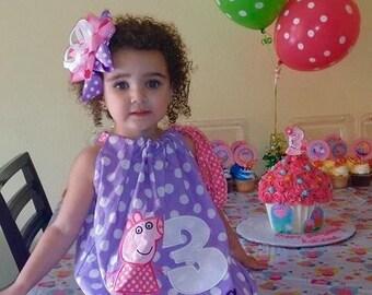 Peppa Pig dress, Peppa Pig birthday, Peppa Pig, pillowcase dress, with monogram