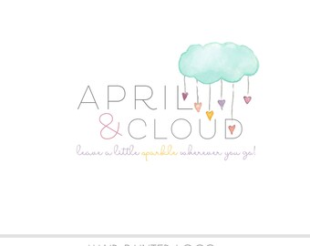 Watercolor Logo -  Business Logo - Rain Cloud, Hearts, Drawn, Artistic, Unique, Nature, Simple Design, Colorful, rain drops, photography