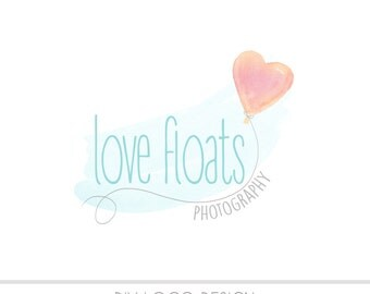 CLEARANCE - Watercolor DIY Business Logo, Pastel, photography, watermark, balloon, newborn, babies, infant, heart balloon, Instant download