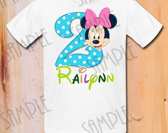 T-shirt Disney Minnie Mouse Iron On Transfer Printable Birthday Girl Minnie Mouse digital download Personalized Minnie Birthday Party shirt